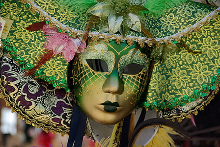 green and gold mask