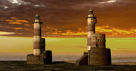 two brown and white lighthouse beside body of water at golden hour