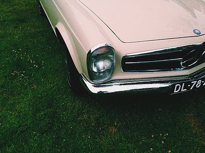beige Mercedes-Benz car