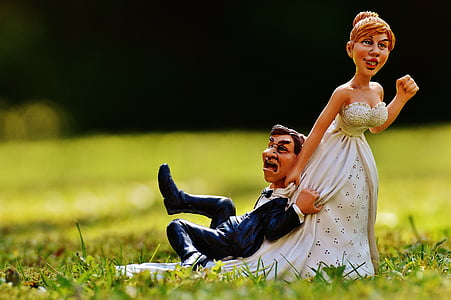groom and bride figurine on green grass