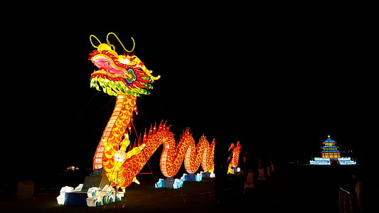 photo of dragon landmark during night