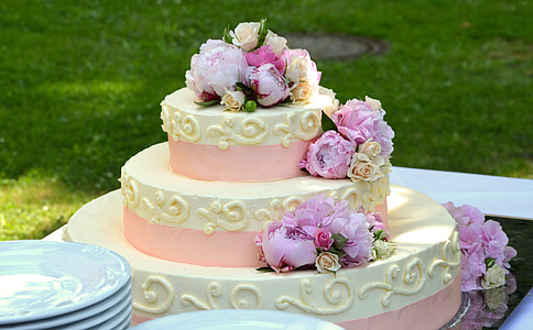 shallow focus photography of white and pink cake with roses