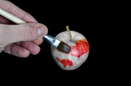 man painting red apple graphic wallpaper