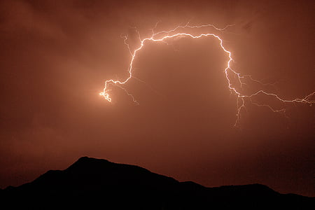 lightning bolt on brown sky