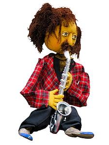 man playing silver saxophone plush toy