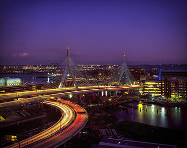 panoramic photography of cable bridge