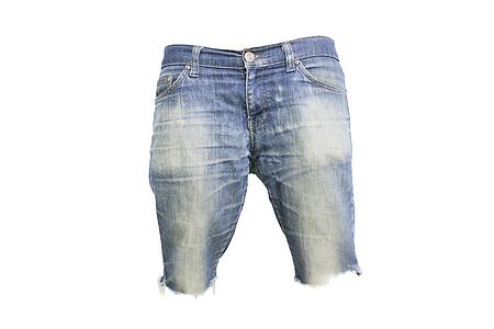 blue denim capri shorts