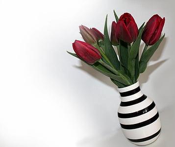 red tulips in white and black striped ceramic vase