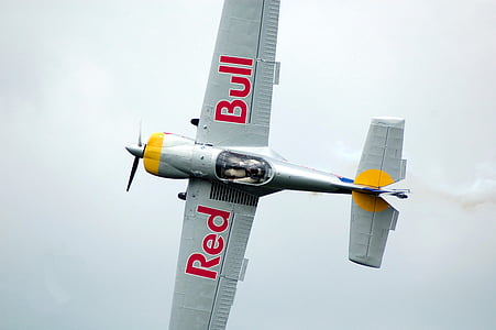 photography of gray Red Bull jet