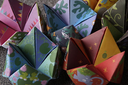 assorted-color paper toys