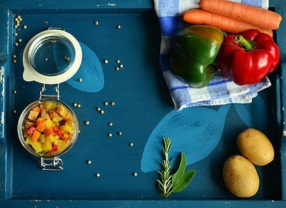 assorted vegetables with blue wooden tray