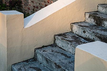 white and gray concrete staircase