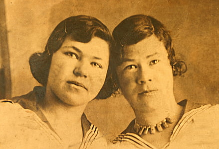 sepia photo of two women