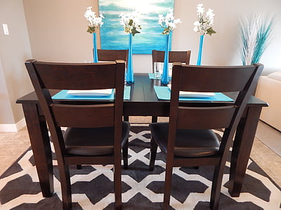 rectangular-top brown wooden dining table