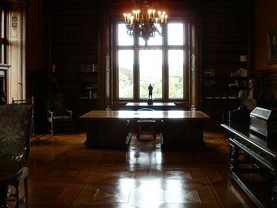 brown wooden desk inside on brown painted room