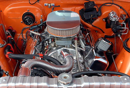 gray and orange engine bay
