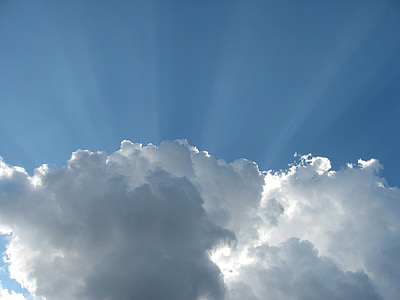 white clouds with sunlight