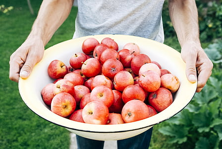 person carrying basin of apples