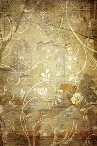 brown and white floral textile