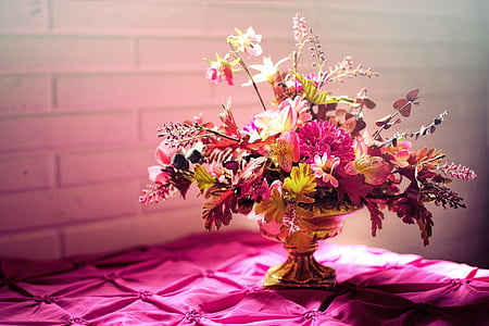 purple and yellow flowers table centerpiece