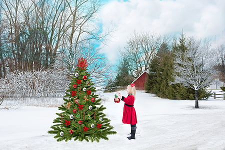 girl in red dress standing in front of Christmas tree