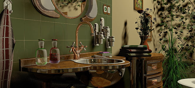 brown sink with gold faucet