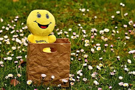 emoji plush toy in brown handbag on white petaled flowers