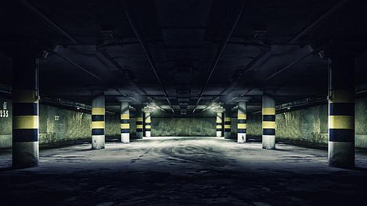 underground parking area of building