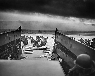 grayscale photo of D-Day landing on Norway
