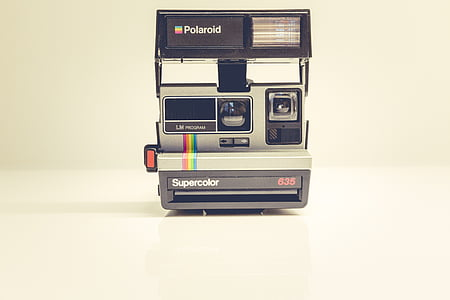 Polaroid camera with white background