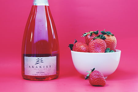 strawberry, strawberries, wine, wine bottle, sparkling rose, berries