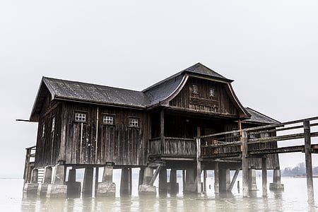 brown wooden house over body of water