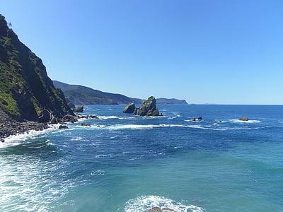 black coastal island in body of water near cliff under blue sky