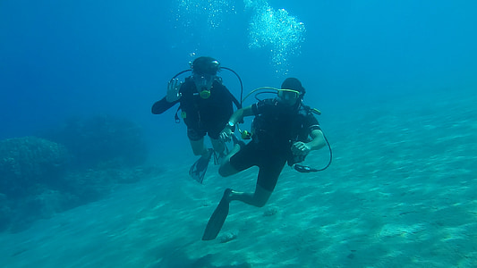 two person scuba diving