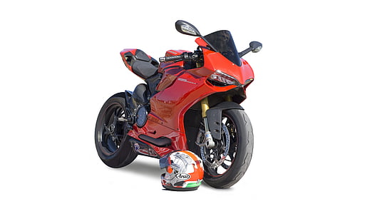 red sports motorcycle and orange full-face helmet