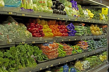 variety of vegetable on retail gondola