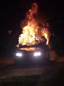 silver car on fire