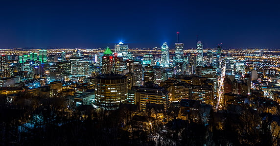 bird's eye view of city at night