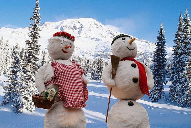 photography of snowmen ornaments