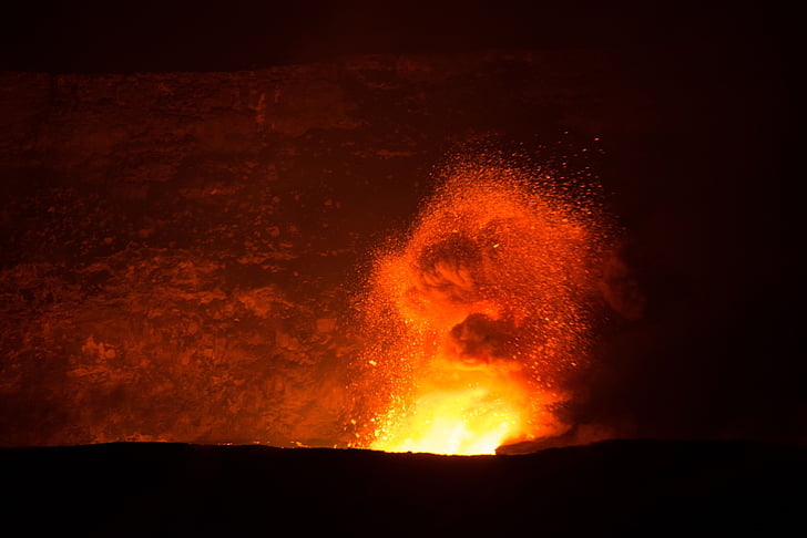 volcano, lava, flowing, eruption, landscape, active
