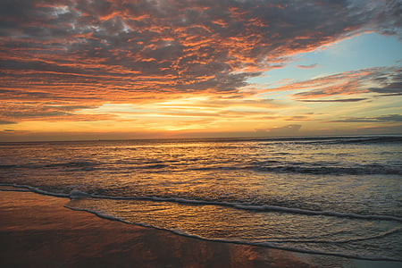 panoramic photography of sunset by the sea