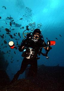 man diving under water