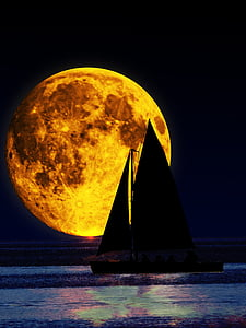 silhouette of sailboat during full moon