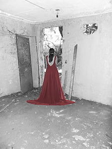 selective color of woman in red dress