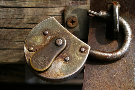 gray metal padlock
