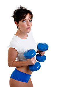 woman holding pair of blue dumbbells