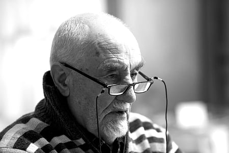 Royalty-Free photo: Man wearing clear tint eyeglasses ...