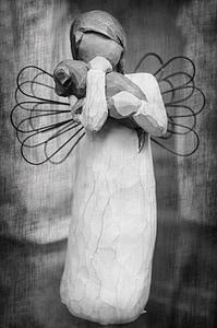 wooden woman figure