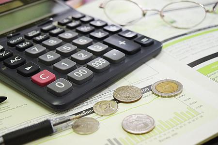 desk calculator on table