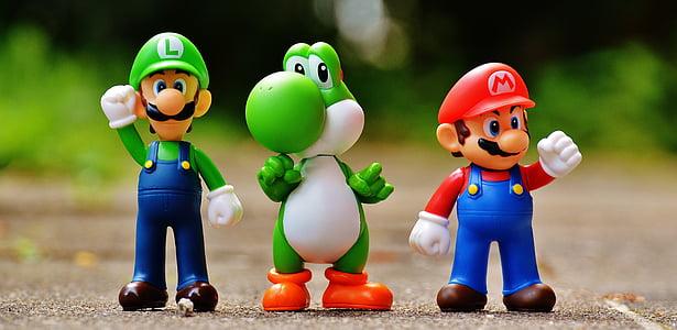 Mario, Luigi, and Yoshi toys
